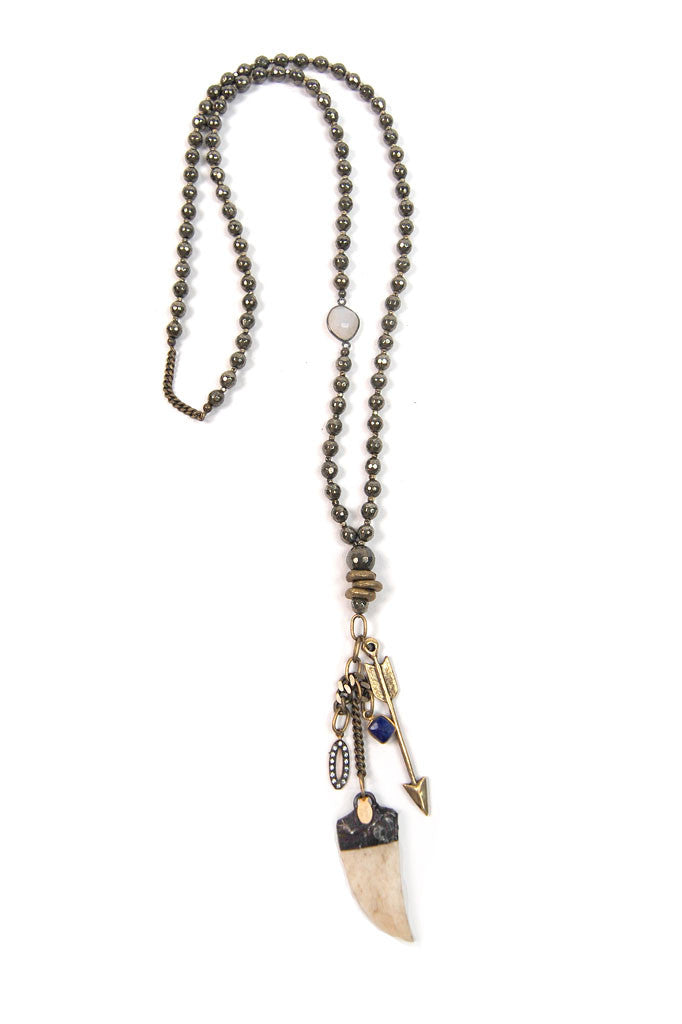 Brass Pyrite Charmed Necklace
