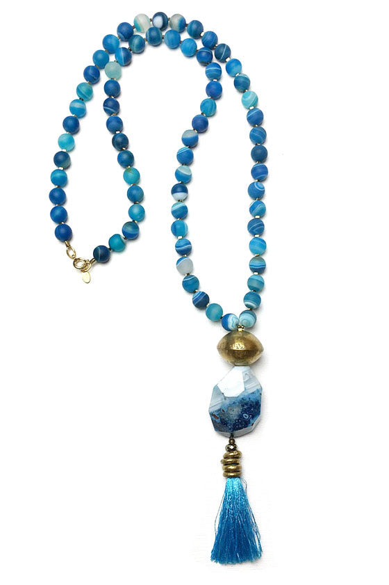 Blue Ocean Tassel Necklace