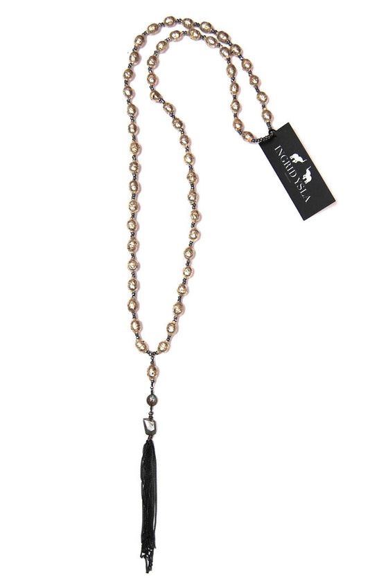 Silver Ethiopian Pyrite Chain Tassel Necklace
