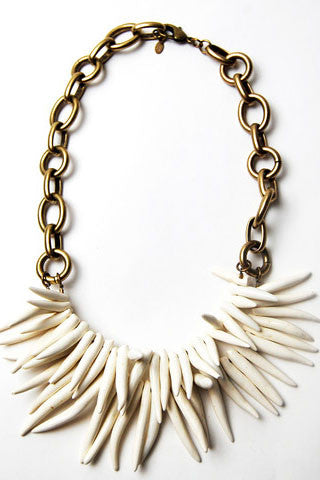 White Brass Spike Necklace