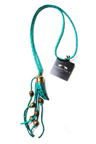 Blue Tibetan Horn Leather Tassel Necklace