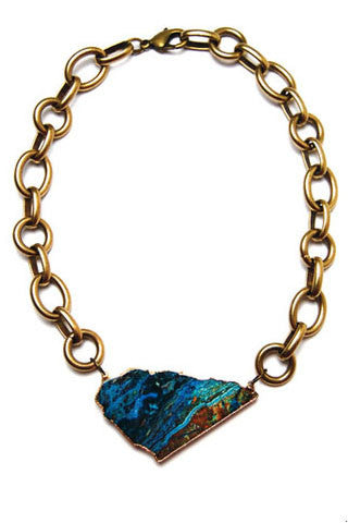 Brass Chrysocolla Necklace