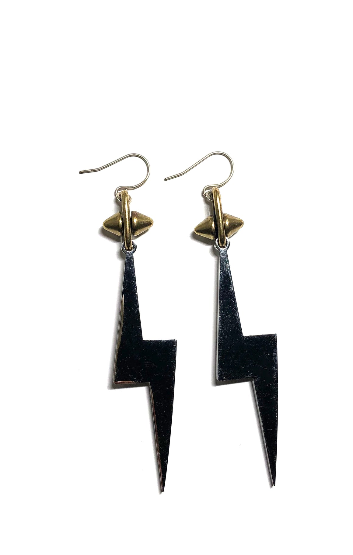 Two Tone Lightning Earrings