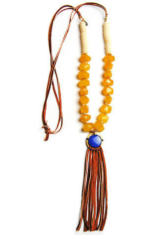 Yellow Gypsy Tassel Necklace