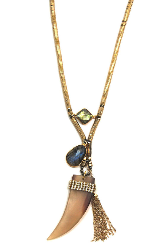 Gold Labradorite Horn Necklace
