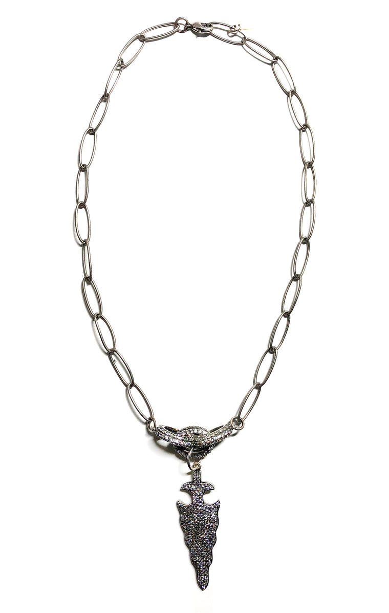 Silver CZ Arrow Necklace