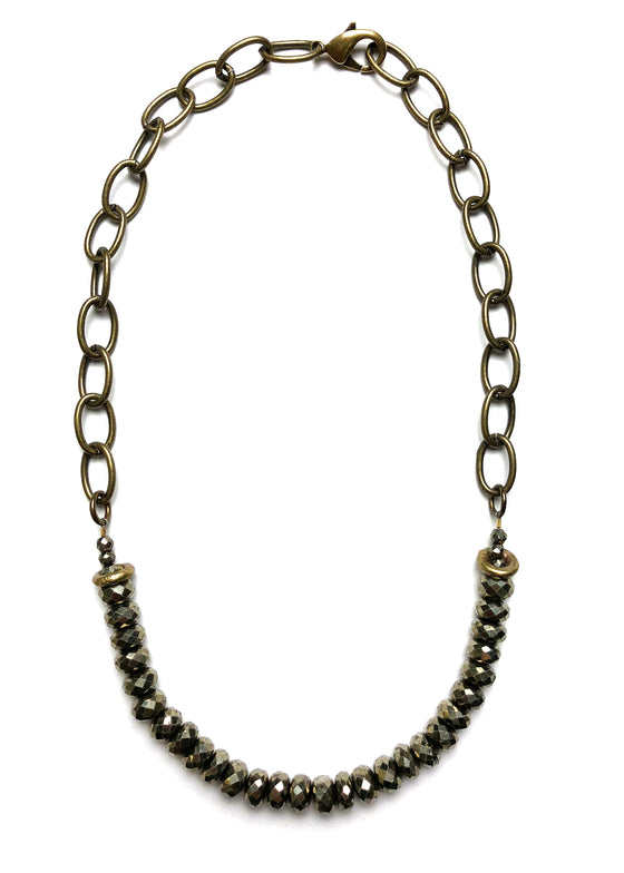 Pyrite Brass Necklace