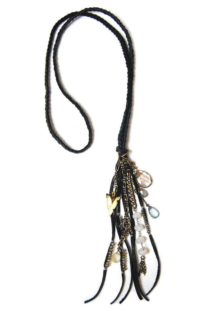 Black Charmed Tassel Necklace