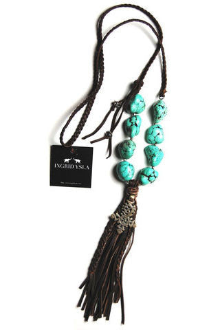 Turquoise Leather Nugget Necklace