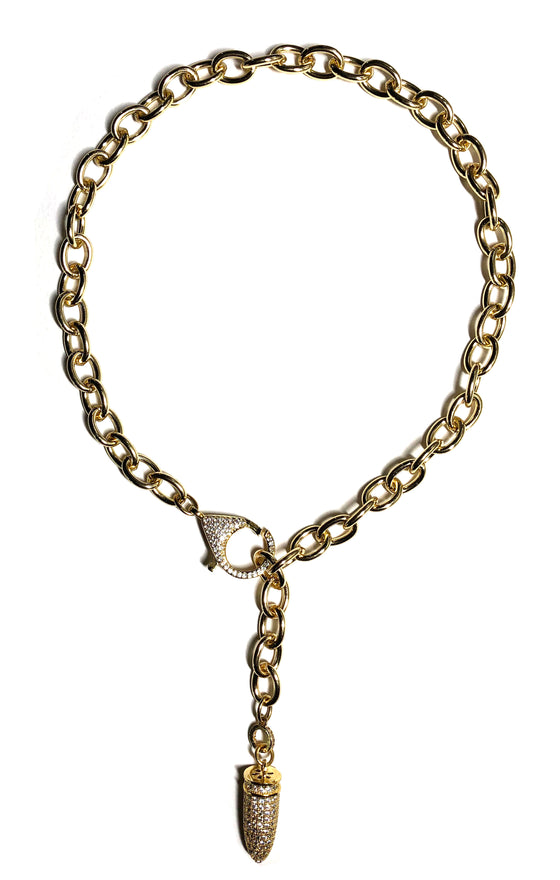 Gold Bullet Chain Necklace