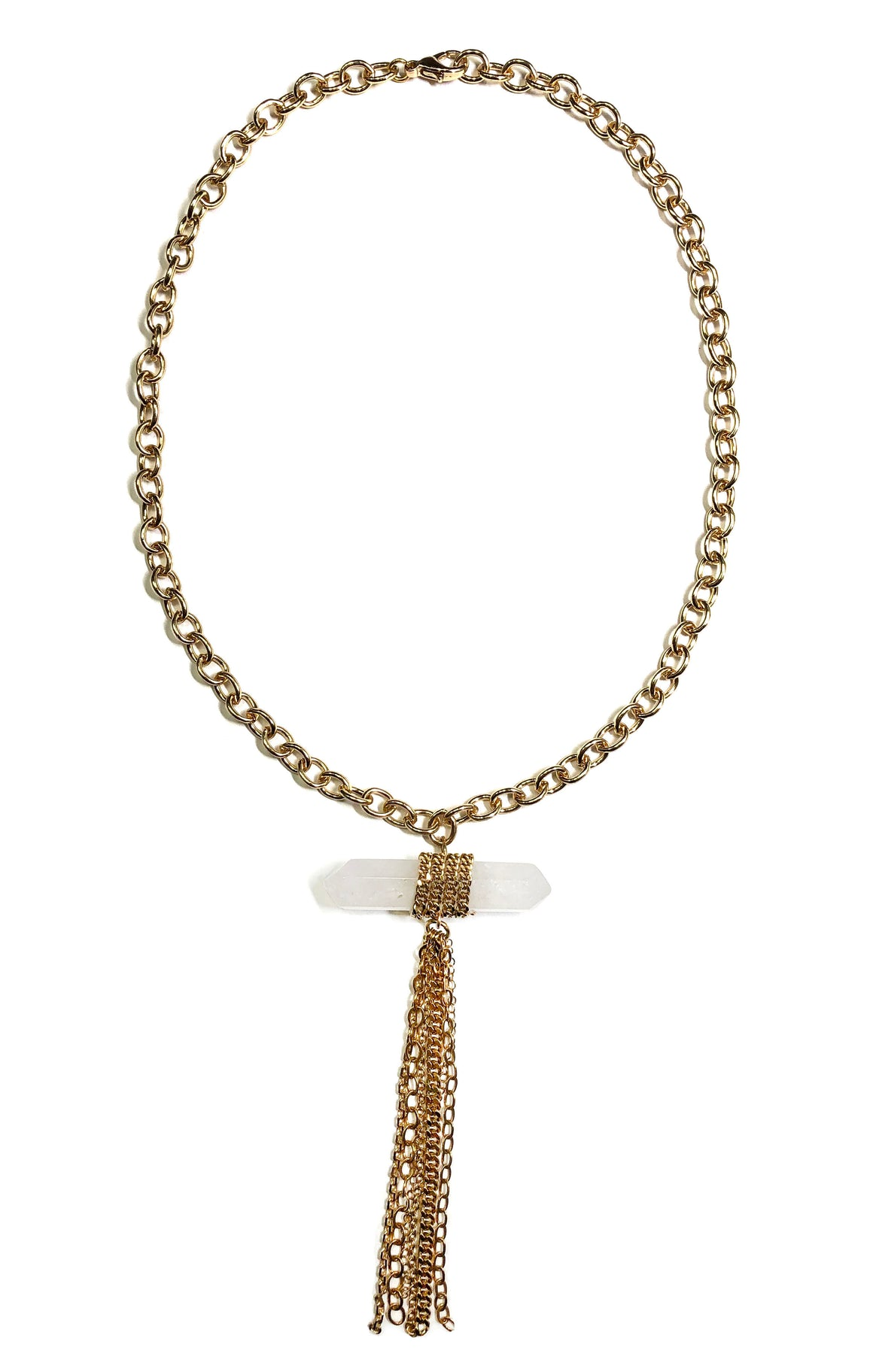Gold Crystal Chain Necklace
