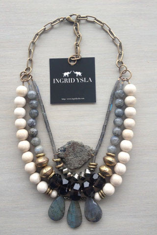 Labradorite Pyrite Bib Necklace