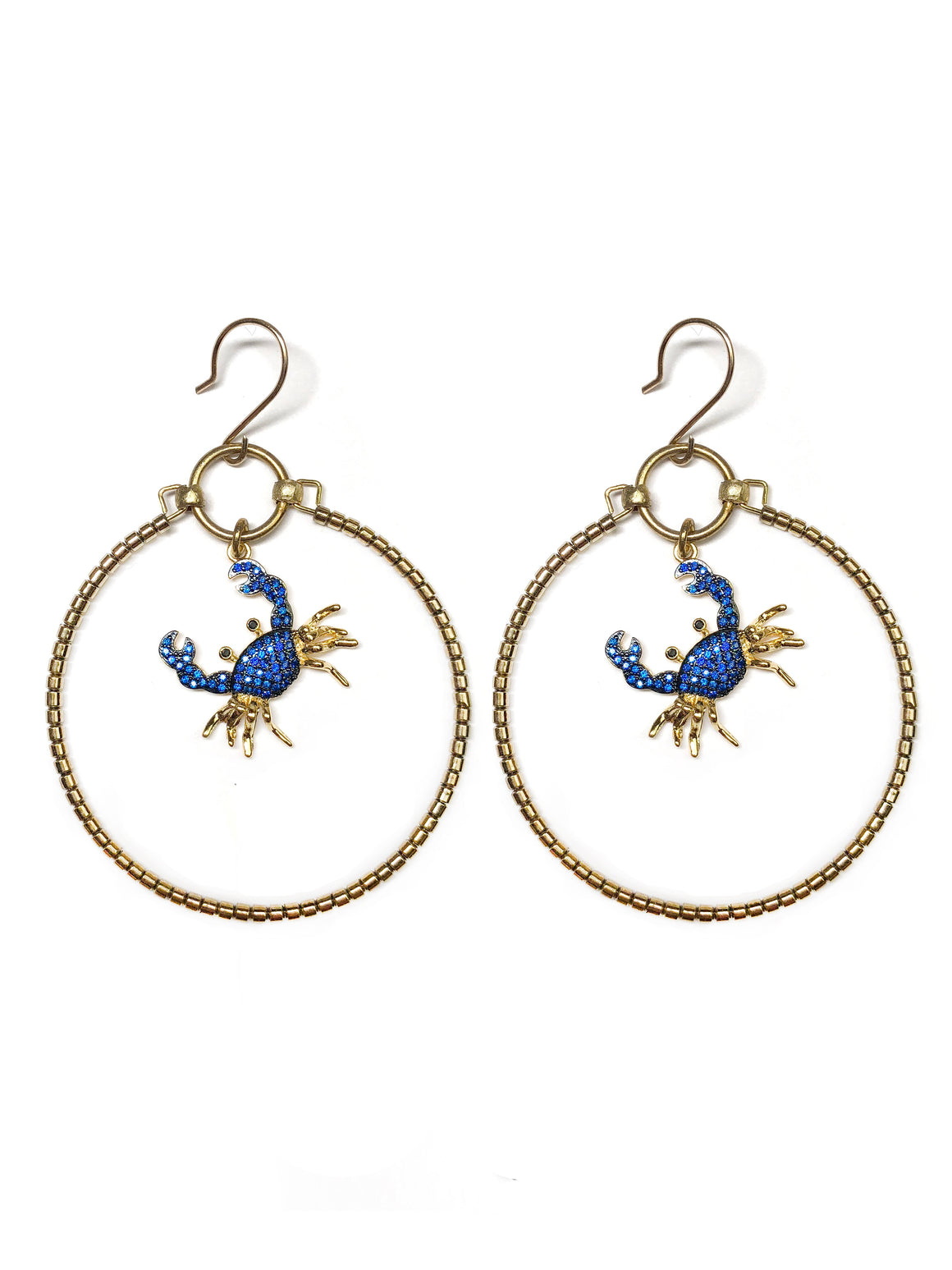 Royal Blue Crab Earrings