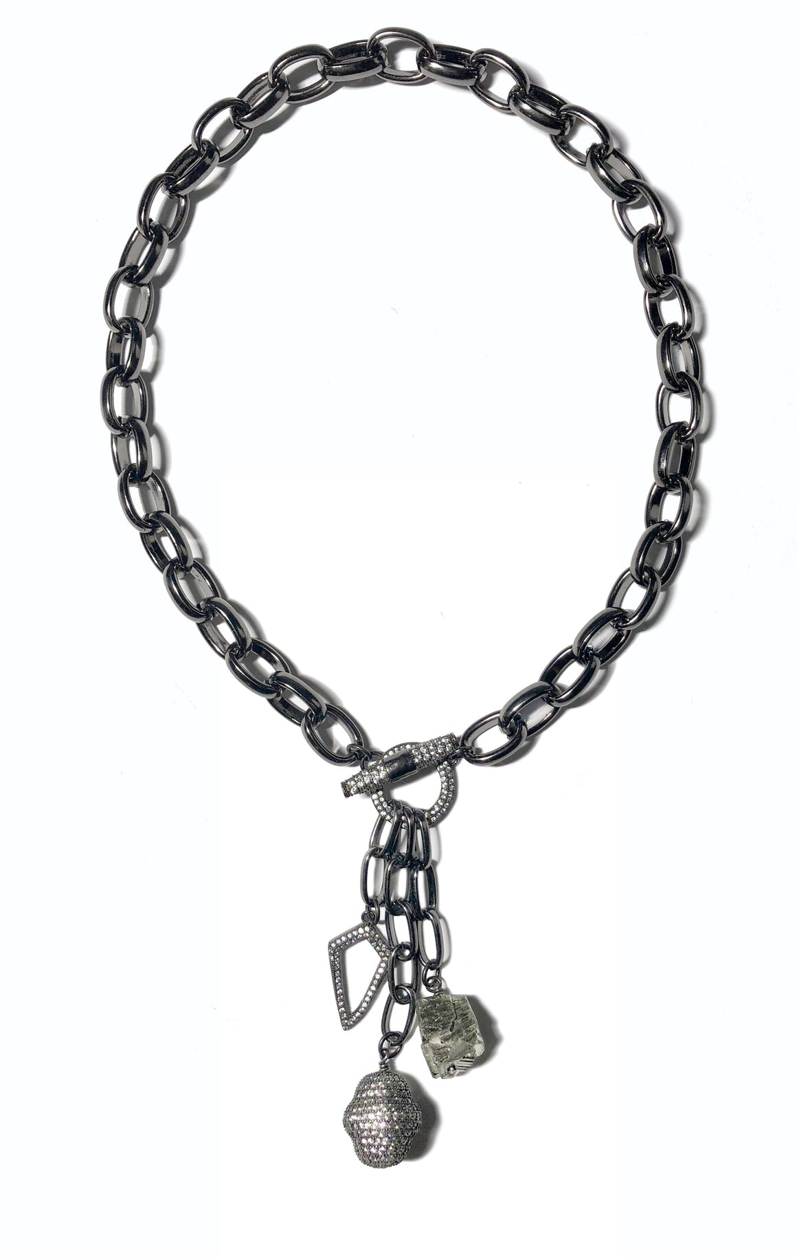 Gunmetal Triple Charmed Choker