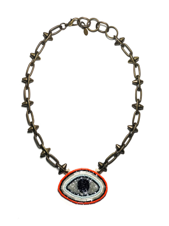 Embroidered Evil Eye Necklace