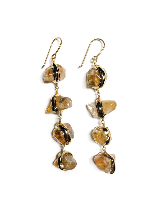 Triple Citrine Earrings