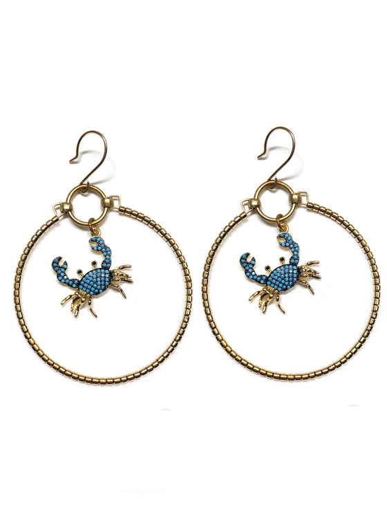 Turquoise Crab Earrings