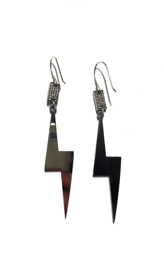 Pave Lightning Bolt Earrings