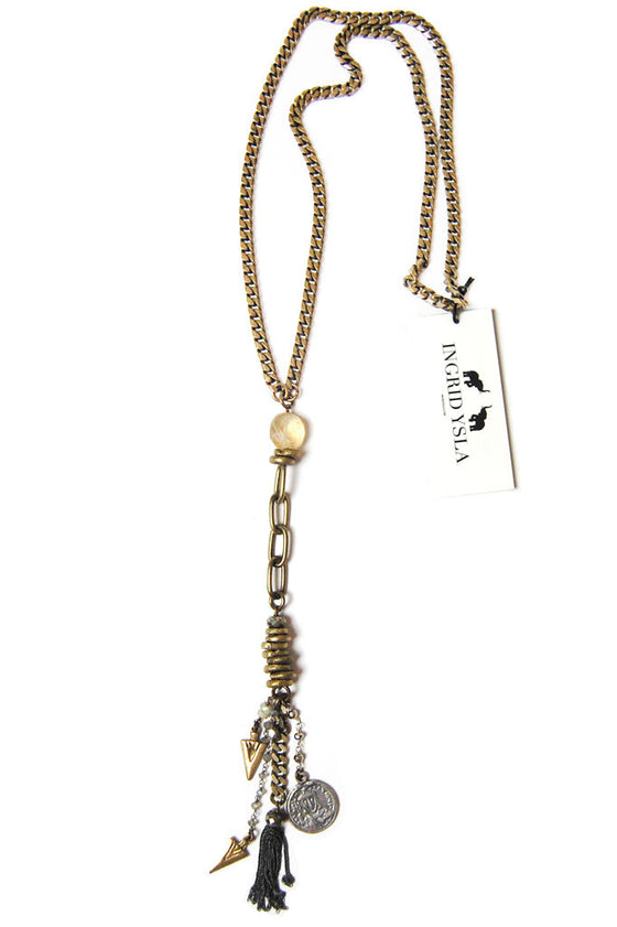 Brass Charmed Tassel Necklace