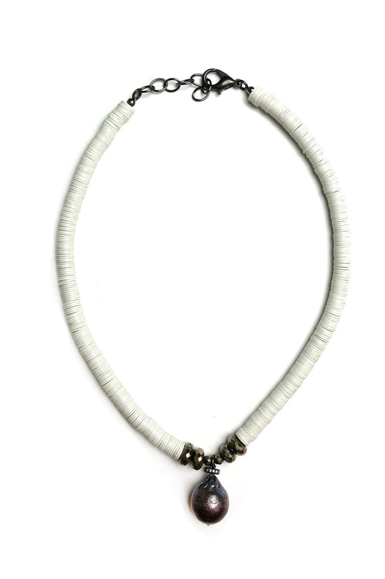 White Pyrite Pearl Necklace