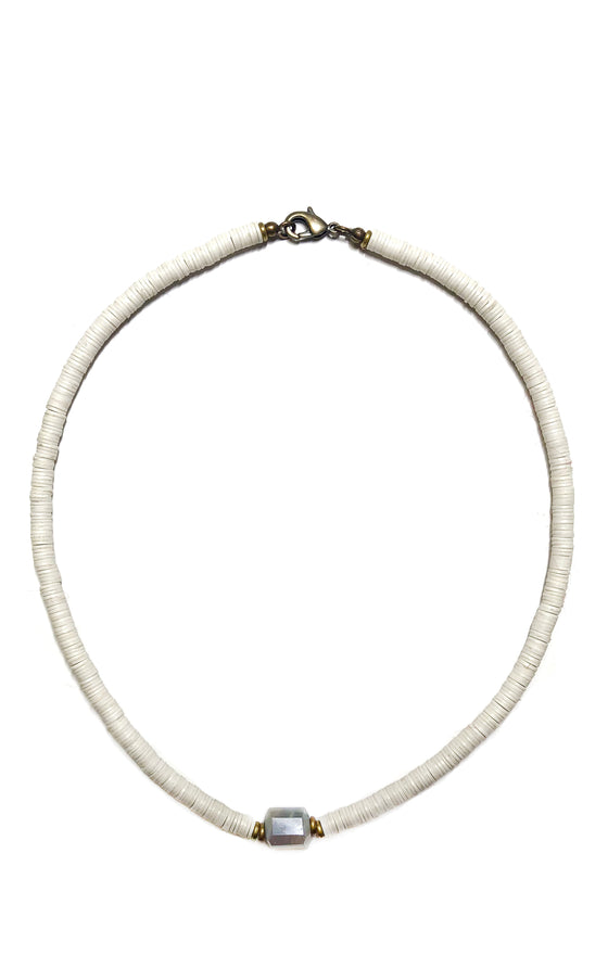 Pave White Leather Necklace
