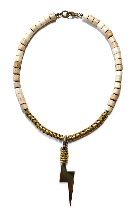 Bone Brass Lightning Choker