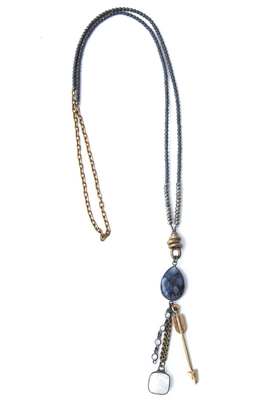 Lapis Moonstone Arrow Necklace