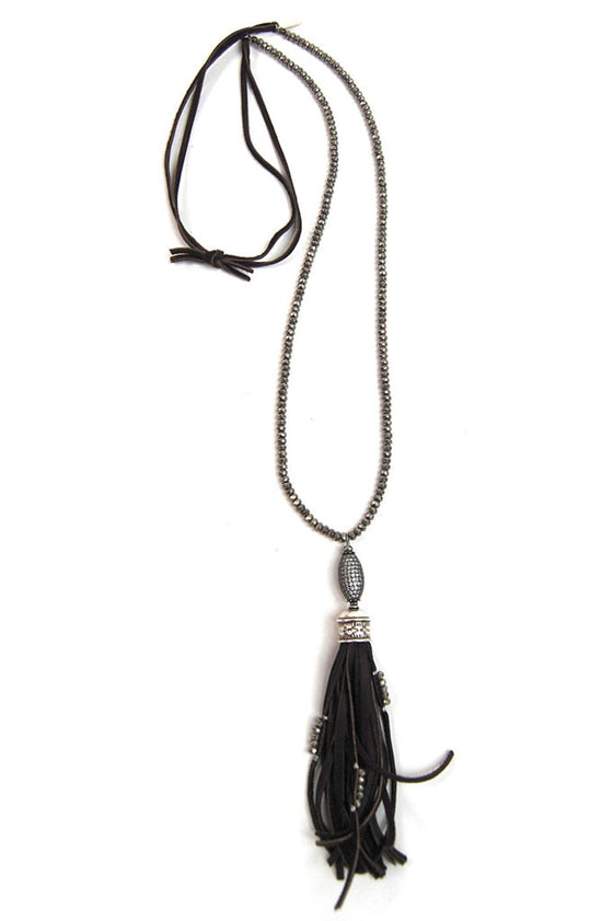Leather Pyrite Tassel Necklace