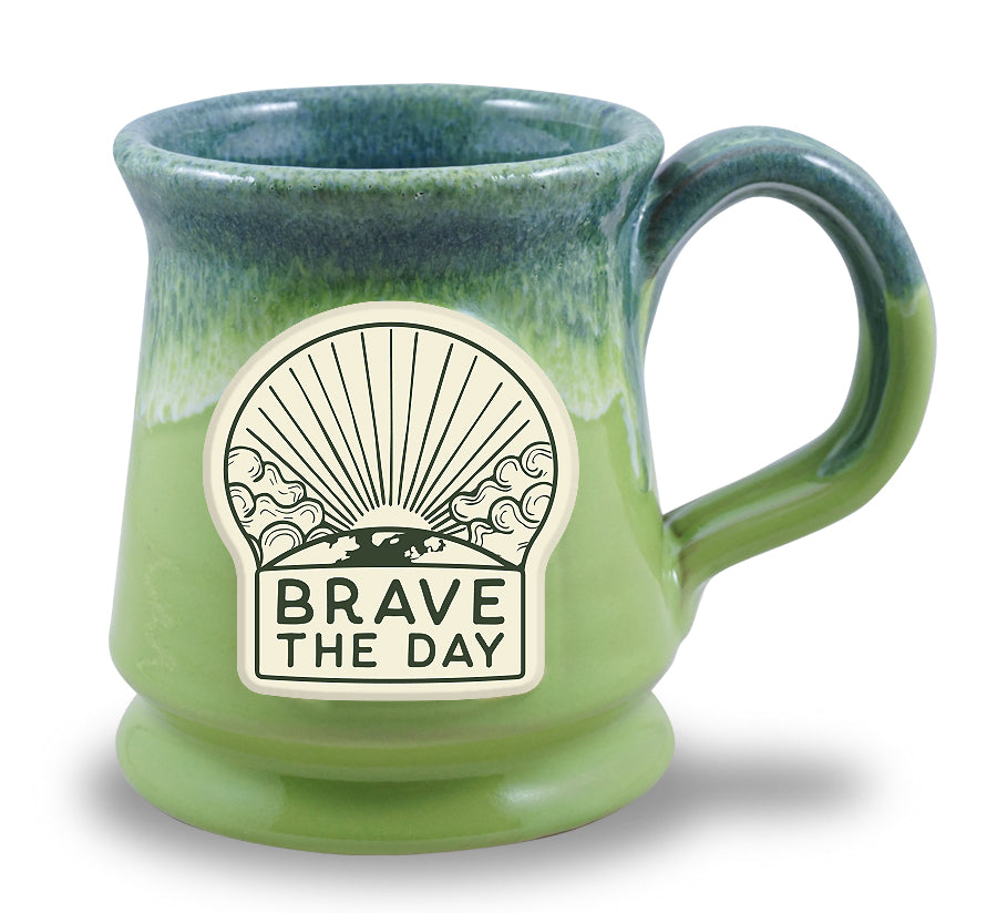 LIMITED EDITION - BRAVE THE DAY MUG - KIWI W/BLUE WHITE