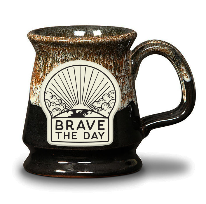 LIMITED EDITION - BRAVE THE DAY MUG - BLACK W/CINNAMON WHITE