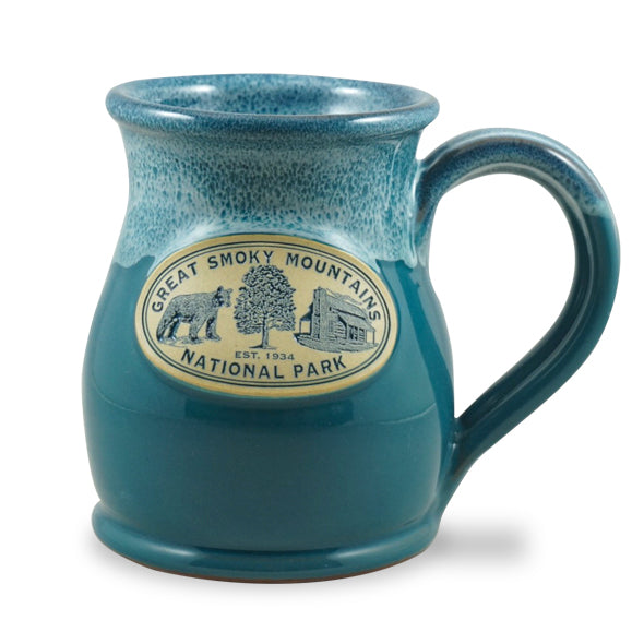 GREAT SMOKY MOUNTAINS - BEAR TREE CABIN - TALL BELLY MUG 14+ OZ. PEACOCK W/BLUE WHITE