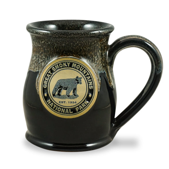 GREAT SMOKY MOUNTAINS BEAR - TALL BELLY MUG 14+ OZ. BLACK W/CINNAMON WHITE