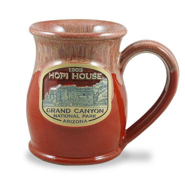 HOPI HOUSE - TALL BELLY 15 OZ. - RED W/SAND WHITE