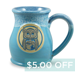 OWL MUG - TALL BELLY 14 OZ. - POWDER BLUE W/BLUE WHITE