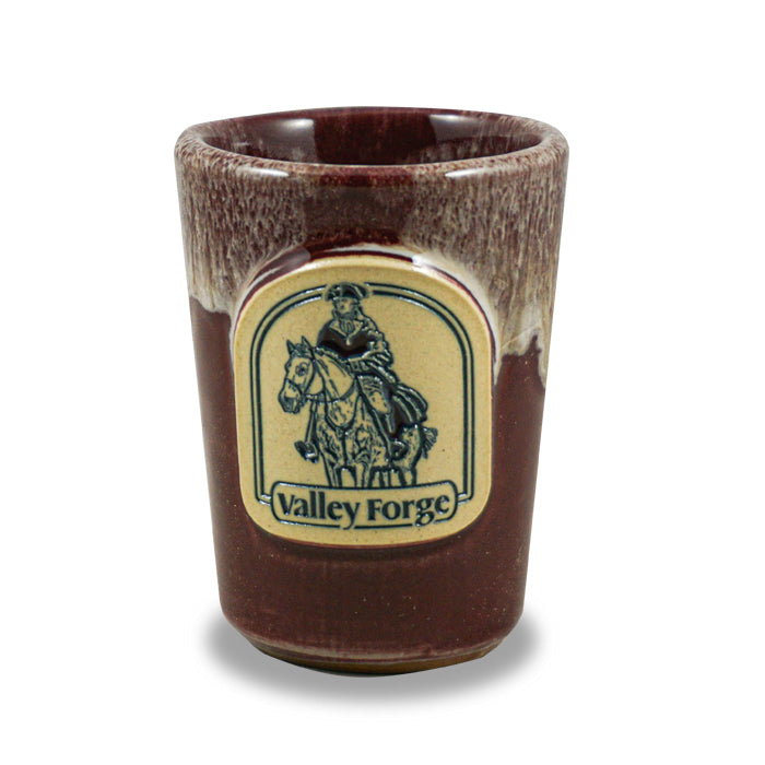VALLEY FORGE - SHOT GLASS - BURGUNDY W/SAND WHITE