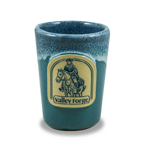 VALLEY FORGE - SHOT GLASS - PEACOCK W/BLUE WHITE