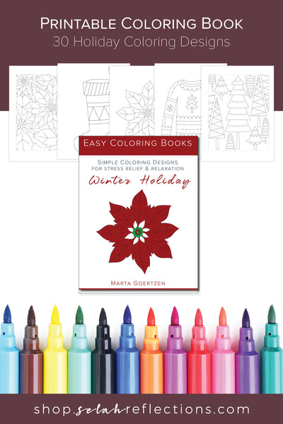 Printable Coloring Book - Simple Winter Holiday Coloring Designs - [30 Designs]