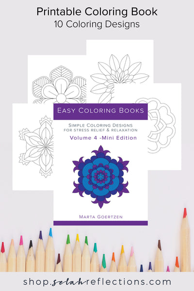 Printable Coloring Book - Simple Coloring Designs - Volume 4 [10 Designs]