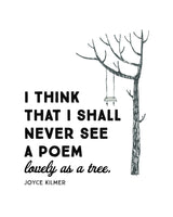 Nature Wall Art - I Think I Shall Never See A Poem As Lovey As  A Tree - Joyce Kilmer -  Printable Poster - Home Decor - Inspirational Art