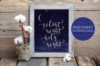 Silent Night Holy Night Christmas Decor - Dark Blue Instant Download Printable Wall Art
