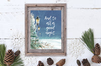 And to All A Good Night Christmas Wall Decor, Printable Christmas, Christmas Quote, Holiday Decor, Lamppost, Snowy Winter