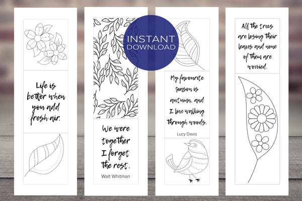 Coloring Bookmarks with Inspirational Quotes - [Set of 4 Leaf Designs]