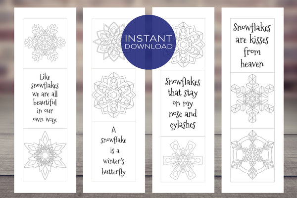 Coloring Bookmarks with Fun Quotes - [Set of 4 Snowflake Designs]