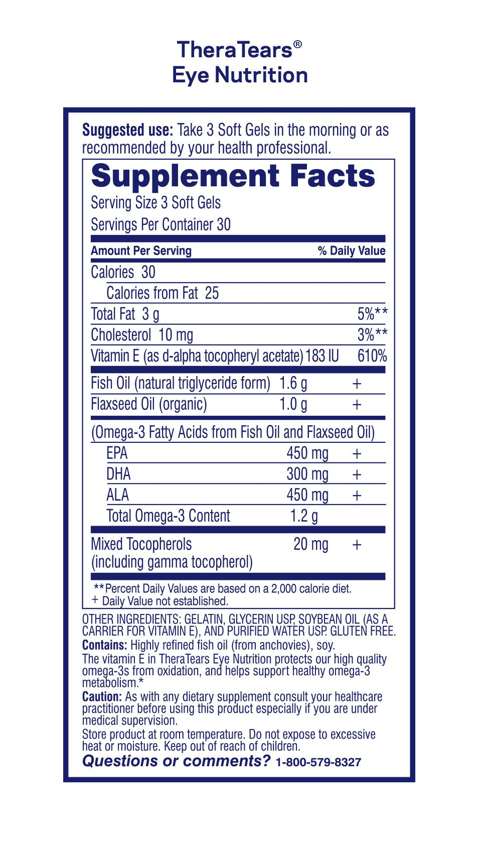 TheraTears Nutrition Supplemental Fact