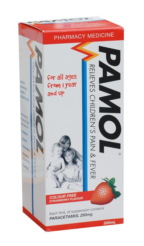 Pamol Colour Free Strawberry Suspension for All Ages 200ml