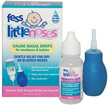 FESS Little Noses Saline Nasal Drops 25ml and Aspirator