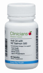 Clinicians Krill Oil with NZ Salmon 500 Capsules 60