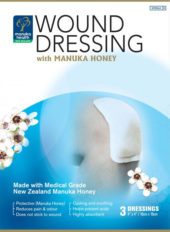 Manuka Health Wound Dressing with Manuka Honey 10cm x 10cm 3