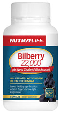 Nutra-Life Bilberry 22,000mg Plus New Zealand Blackcurrant Capsules 60