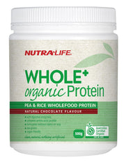 Nutra-Life Whole+ Organic Protein - Pea & Rice Wholefood Protein (Natural Chocolate Flavour) 500g